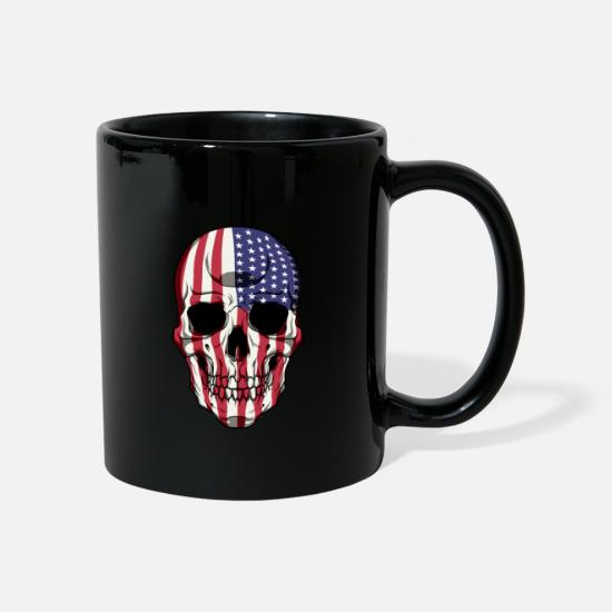 Patriot Mugs & Drinkware - Patriotic Skull - United States Flag - USA Patriot - Mug black