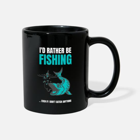 Funny Sayings Mugs & Drinkware - Rather be fishing saying anglers go fishing - Mug black