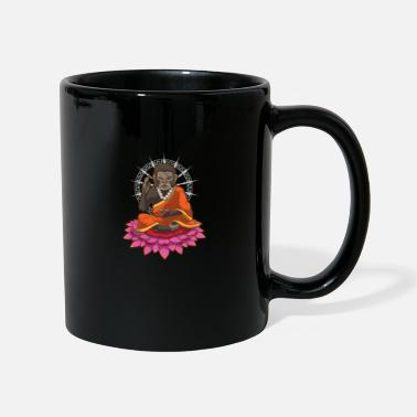 Monk Flower Monkey meditating monk lotus flower gift - Mug