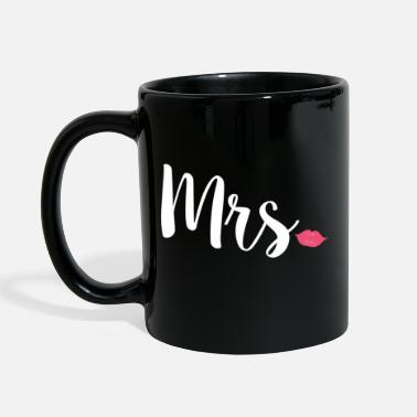Couples Newlyweds Mrs Lips Typography Wife - Full Colour Mug