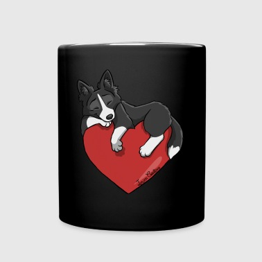 Border Collie Black Heart - Tasse einfarbig