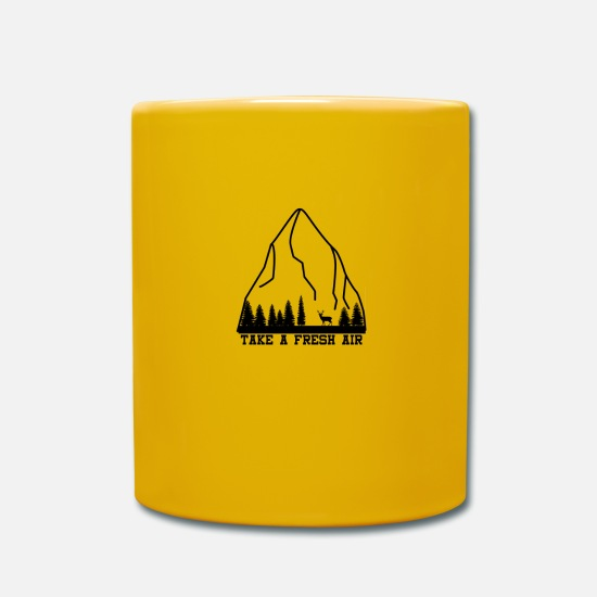Forest Mugs & Drinkware - Mountains, wilderness and the deer - Mug sun yellow