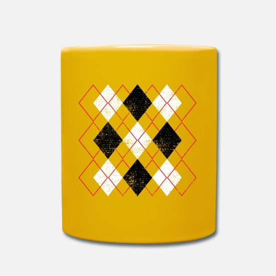 Square Mugs & Drinkware - Check Argyle Diamonds Rockabilly - Mug sun yellow