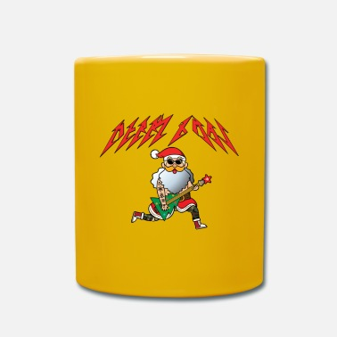 Snowman Santa Claus plays electric guitar - Mug