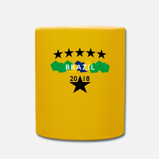 National Team Mugs & Drinkware - Brazil Soccer World Cup Fan Shirt - Mug sun yellow