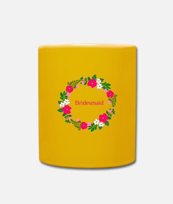 Maid Of Honor Mugs & Drinkware - flower wreath bridesmaid - Mug sun yellow