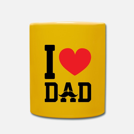 Love Mugs & Drinkware - I love dad - Mug sun yellow