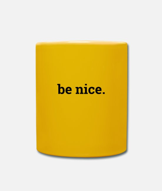 English Mugs & Drinkware - Be Nice - Mug sun yellow