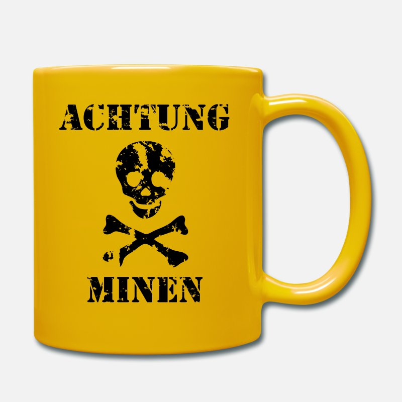 German Mugs & Drinkware - Achtung Minen Sign - Mug sun yellow