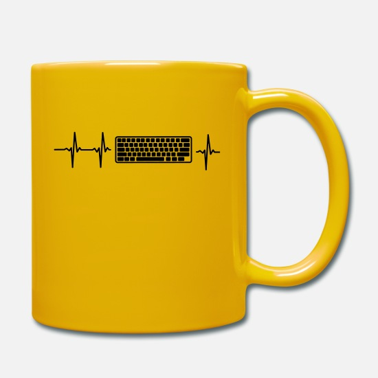 Computer Mugs & Drinkware - MY HEART BEATS FOR COMPUTER! - Mug sun yellow