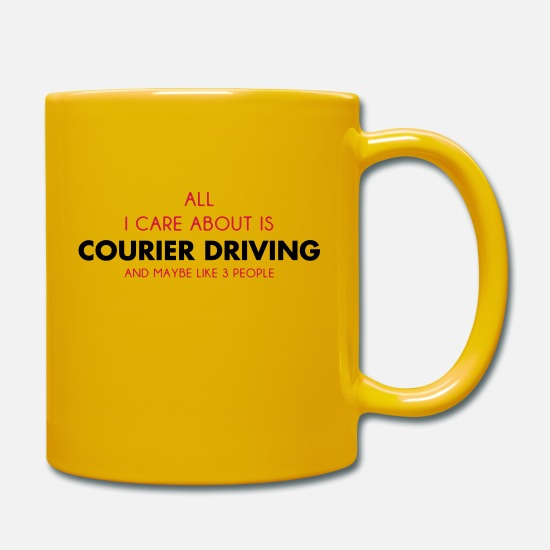 Message Mugs & Drinkware - all i care about is courier driving - Mug sun yellow