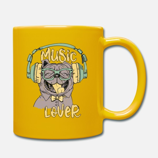 I Love Music Mugs & Drinkware - Happy Pug loves music - dog music lover - Mug sun yellow