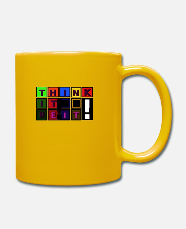Optimist Mugs & Drinkware - Think it - be it! - Mug sun yellow