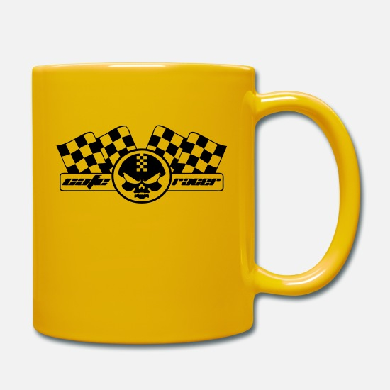 Motorcycle Mugs & Drinkware - Moto racer coffee and checkered racing flag - Mug sun yellow