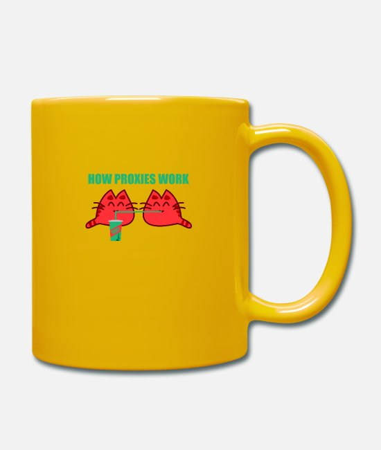 How Proxies Work Mugs & Drinkware - How Proxies Work Sysadmin Shirt IT Server Hardware - Mug sun yellow