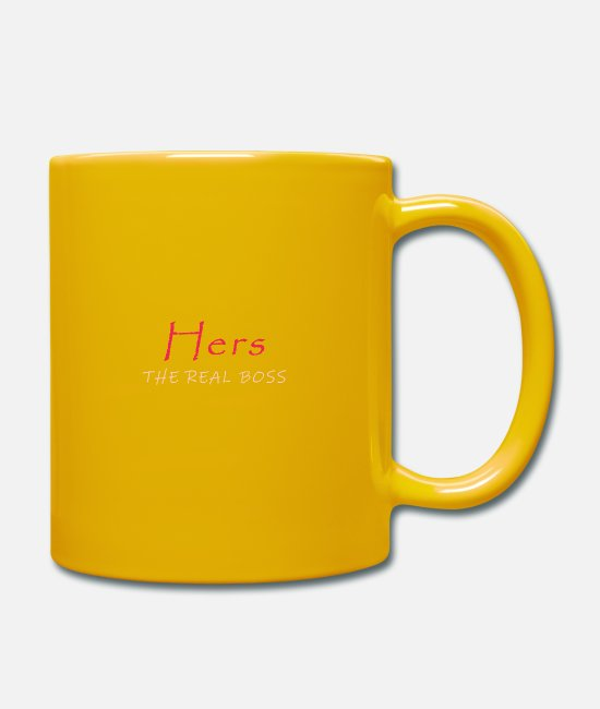 • Parents Mugs & Drinkware - His & Hers - Hers - Your the real BOSS - Mug sun yellow