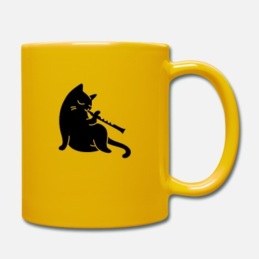 Playing Cat plays flute - Mug