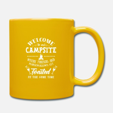 Happy Camping Welcome to Our Campsite Beer Wine Cheers Adventure - Mug