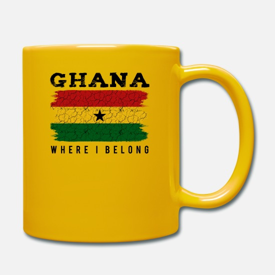 Patriot Mugs & Drinkware - Ghana Where I Belong Statement Say Gift Idea - Mug sun yellow
