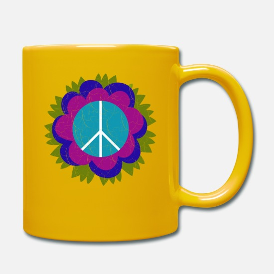 Love Mugs & Drinkware - Flower Power Peace Sign - Purple Flowers Vintage - Mug sun yellow