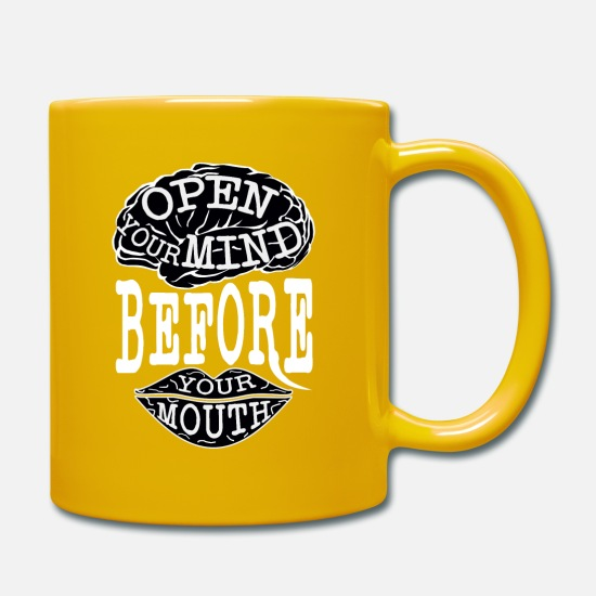 Denken Tassen & Becher - open your mind before your mouth - Tasse Sonnengelb