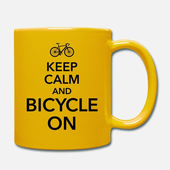 Pedal Tassen & Becher - keep calm and bicycle on Fahrrad Drahtesel Sattel - Tasse Sonnengelb