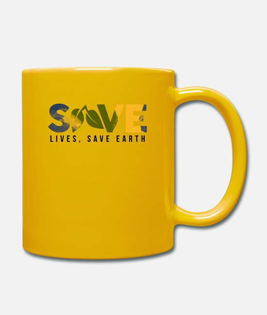 Earth Mugs & Drinkware - Save life, save the earth - Mug sun yellow