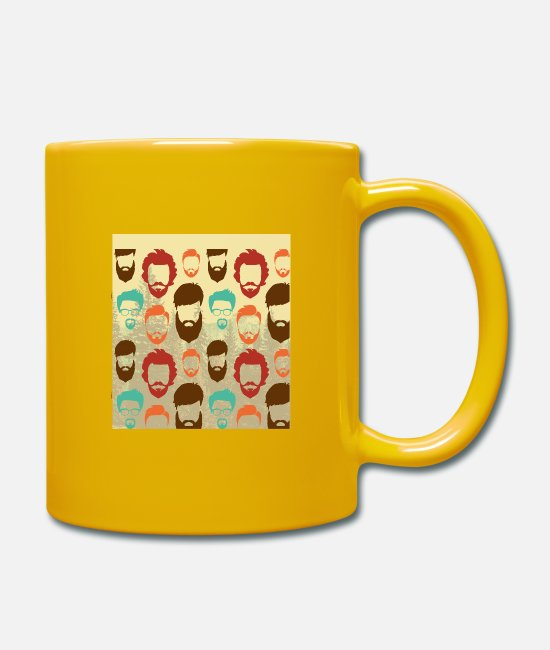 Hipster Mugs & Drinkware - funny hipster beard faces with glases - Mug sun yellow