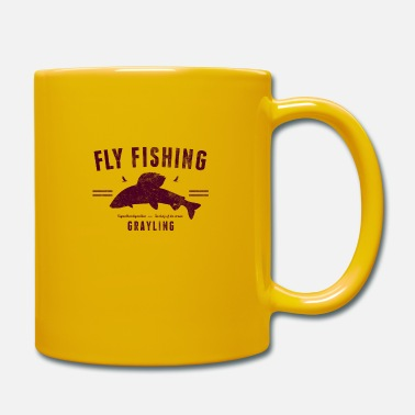 Fly fishing grayling, red on white - Mugg