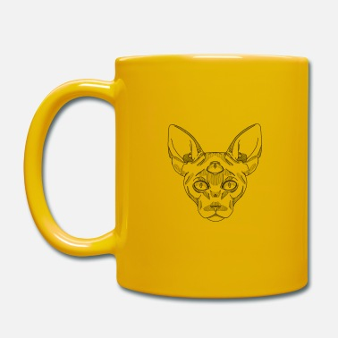 Old School Sphynx gato negro - Taza de un color