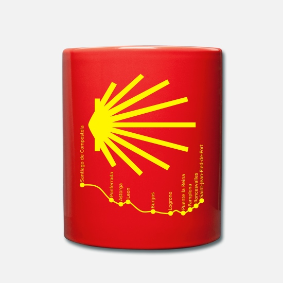 Santiago Mugs & Drinkware - Way to Santiago 034 Yellow - Mug red