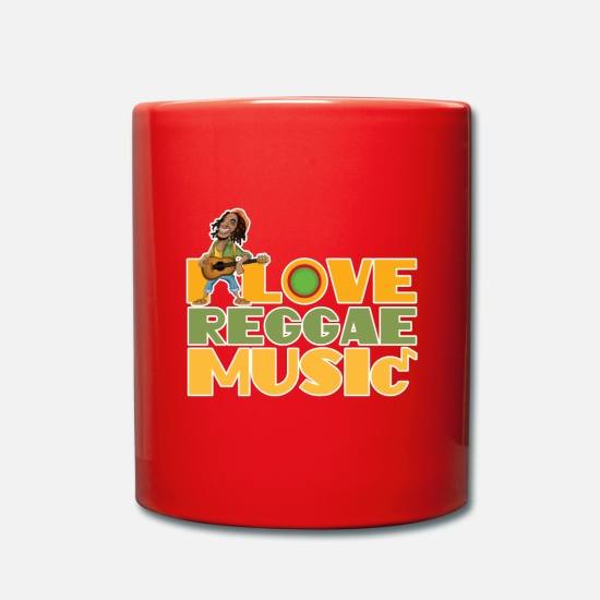Spliff Mugs & Drinkware - I Love Reggae Music | Jamaican Rasta Stoner Roots - Mug red