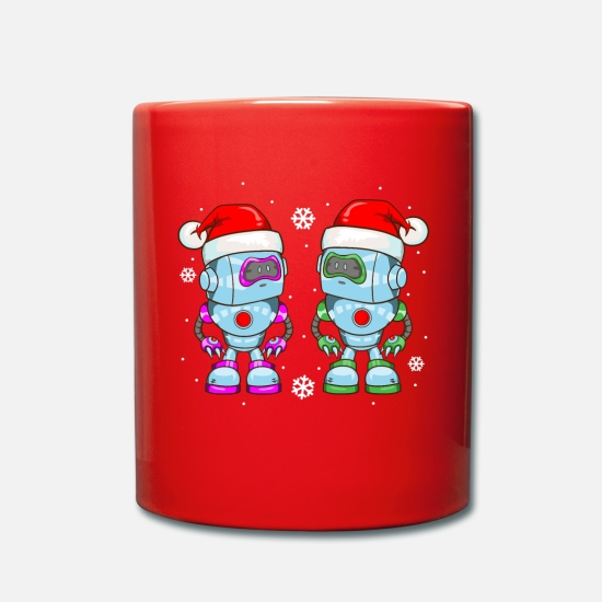 Gift Idea Mugs & Drinkware - Robot Santa Claus Gnome Christmas Funny - Mug red