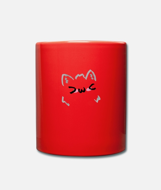 Kawaii Mugs & Drinkware - kawaii cat blush - Mug red