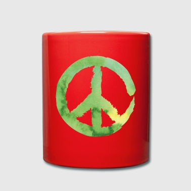 Peace sign - watercolor green - Full Colour Mug