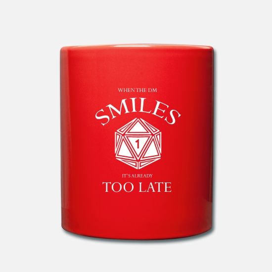 Dungeons And Dragons Mugs & Drinkware - When the DM Smiles it's already too Late - Mug red