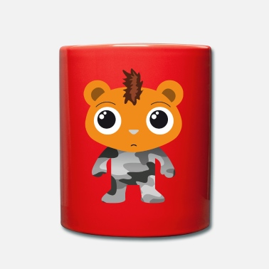 Mohawk Little bear in camouflage suit and mohawk cartoon - Full Colour Mug