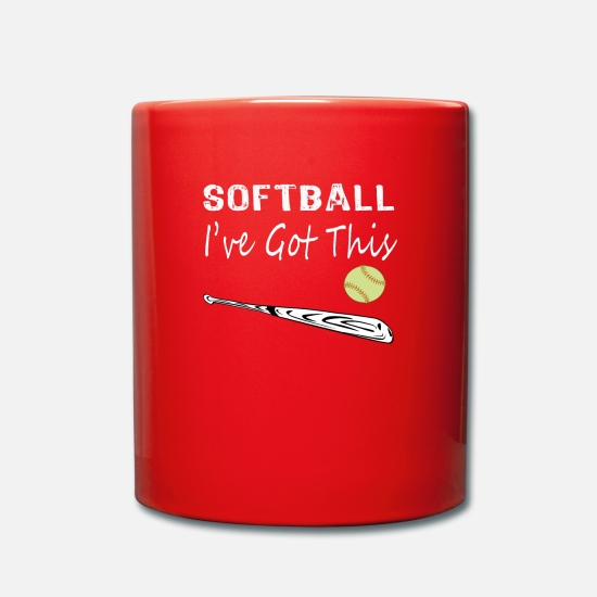 Softball Mugs & Drinkware - Awesome Softball Loving Design Softball I've Got - Mug red