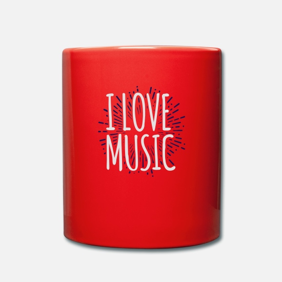 Love Mugs & Drinkware - I love music word music lover Gig Godigart - Mug red