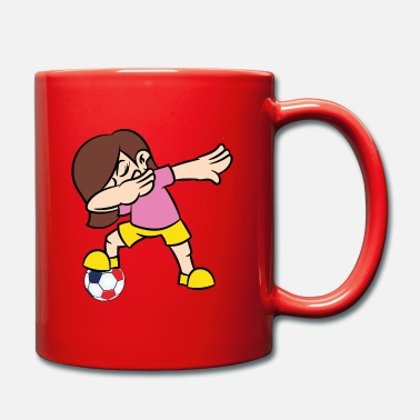 Rugby A Dabbing Girl Football Player With Football At - Mug