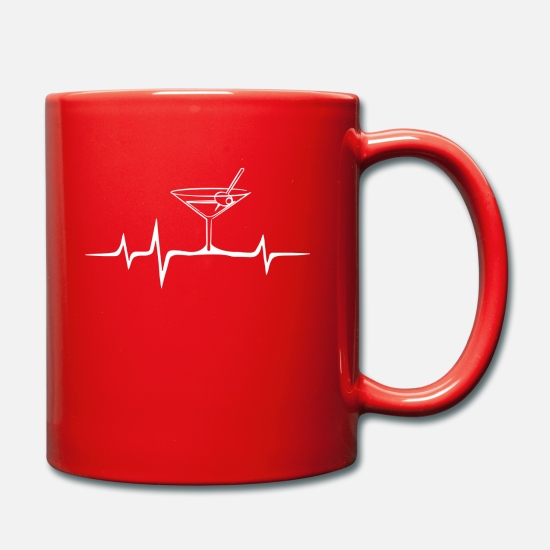Alcohol Mugs & Drinkware - ECG heartbeat cocktail design motif - Mug red