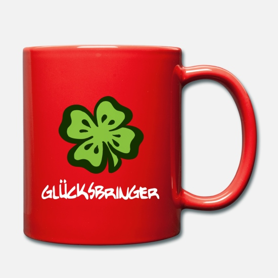 Gift Idea Mugs & Drinkware - Lucky charm lucky clover - white font - Mug red