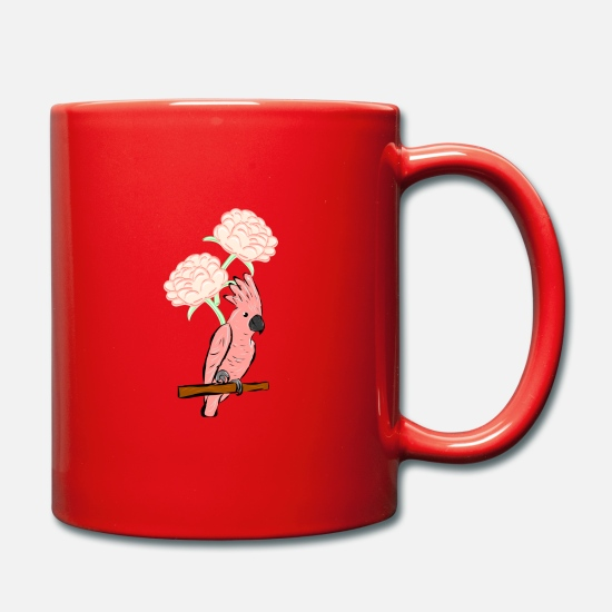 Cherry Blossom Mugs & Drinkware - Cockatoo with cherry blossoms - Mug red