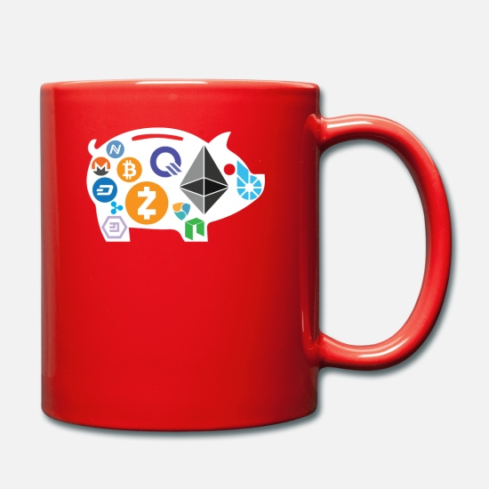 Piggy Bank Mugs & Drinkware - Crypto Piggy Bank Crypto HODL Blockchain Currency - Mug red