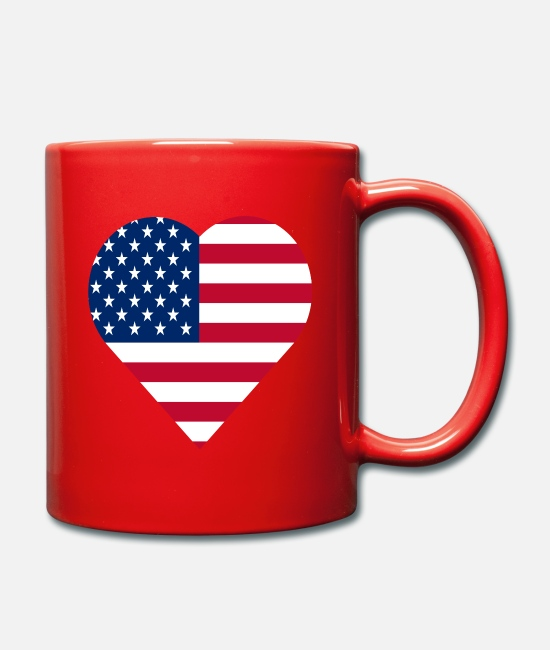 American Mugs & Drinkware - united states of America love heart - Mug red