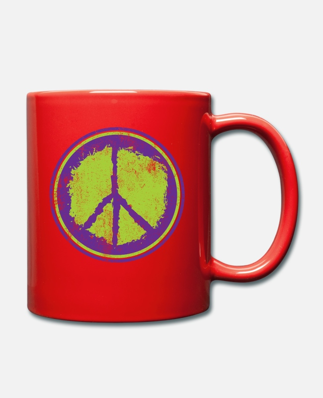Heart Mugs & Drinkware - Peace Peace Peace Sign - Mug red