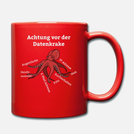 Birthday Mugs & Drinkware - Privacy Regulation Octopus DSGVO data octopus - Mug red