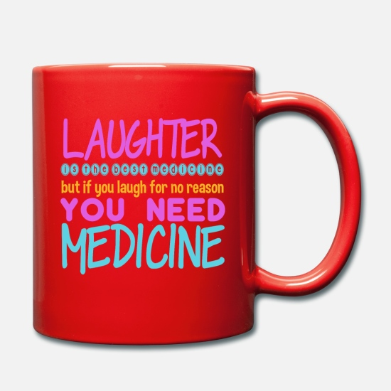 Birthday Mugs & Drinkware - laughter no reason - Mug red