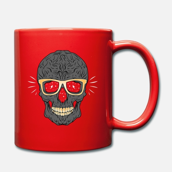 Wealth Mugs & Drinkware - Bling Bling Skull - Skull with Golden Brill - Mug red