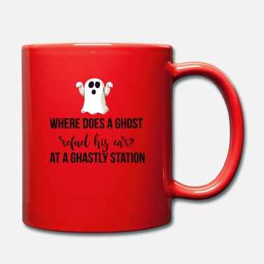 Ghastly Where does a ghost refuel his car? - Mug